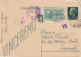 ITALIE  1943    ENTIER POSTAL/GANZSACHE/POSTAL STATIONERY  CARTE EXPRES  DE ANCONA CENSUREE POUR TORONTO - 1900-44 Victor Emmanuel III
