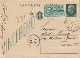 ITALIE  1943    ENTIER POSTAL/GANZSACHE/POSTAL STATIONERY  CARTE DE ANCONA CENSUREE EXPRES POUR TORONTO - 1900-44 Victor Emmanuel III