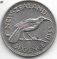 *new Zealand  6 Pence 1933 Km 2  Xf++ - New Zealand