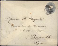 Entier 2 1/2 Bleu Gris Victoria 40 Paras Oblit S Beyrouth CAD British Post Office Stamboul Jy 19 93 Smyrna Jy 20 93 - Levant Britannique