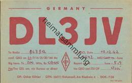 QSL - Funkkarte - DL3JV - 36124 Eichenzell - 1962 - Amateurfunk