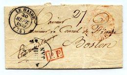 France - Lettre Du Havre Pour Boston 1839 (transatlantique) - Bureau Maritime Havre - PP Rouge - (B1081) - Marcophilie (Lettres)