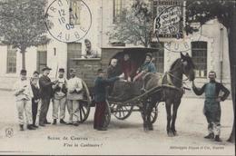 YT Taxe N°12 Sur CPA Scène De Caserne Vive La Cantinière Dugas Et Cie Nantes CAD Bleu Troyes 12  10 11 05 Aube - 1859-1955 Covers & Documents
