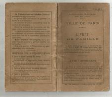 Livret De Famille , Ville De Paris , 1910 , Cachet Pavillon Sous Bois , Bonneuil Matours, 4 Scans, Frais Fr 2.95 E - Old Paper