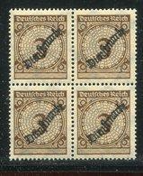 Deutsches Reich / 1923 / Dienstmarke Mi. 99 (a/b ?) 4er-Block ** (1/696) - Dienstpost