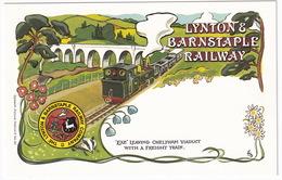 Lynton & Barnstaple Railway - Locomotive 'Exe' Leaving Cheltham Viaduct With A Freight Train - Treinen