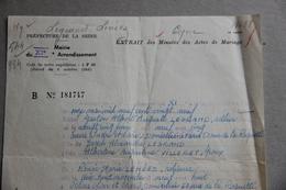 Extrait Actes De Mariage 1929, Paris 1964 - Collections