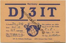QSL - Funkkarte - DJ3IT - 94227 Zwiesel - 1959 - Amateurfunk