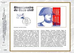 """"""" 200 ANS DU CODE CIVIL / NAPOLEON """" Sur Feuillet CEF 1er Jour De 2004 """" N° 1700s. N° YT 3640. FDC - Napoleon"""