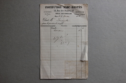Institution Marc-Dastés à Paris-Batignoles, Facture Pour Pension, 1885 - Diplômes & Bulletins Scolaires