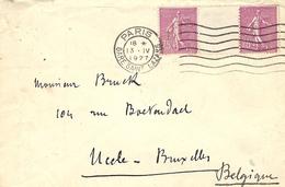 1927- Enveloppe Affr. Paire 75 C N°202 Avec Pont  De Paris Pour La Belgique - Storia Postale