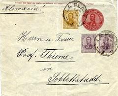 1911- Enveloppe De La Plata  E P  5 Centavos + Compl. 7 Centavos Pour L'Allemagne - Argentine