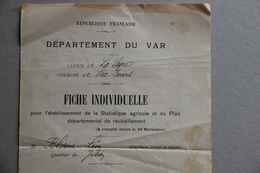 Fiche Statistique Agricole Plan Départemental Ravitaillement, Six-Fours (Var), Vers 1902 - Vieux Papiers