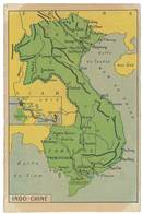 Carte Indochine - Siam , Tonkin , Cambodge, .., Verso Dessin Temple , Tirailleurs - Viêt-Nam