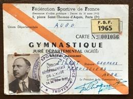 Fédération Sportive De France. Gymnastique. 1965. Georges Pillot. Torvilliers. Troyes. Cachet. - Visitenkarten
