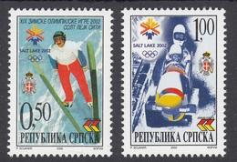 Bosnia Serbia 2002 Olympic Games Winter Salt Lake City USA Bob Ski Jump Sports Set MNH - Winter 2002: Salt Lake City