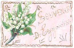 Cpa Souvenir D' Eyguières ( Fleurs, Muguet, Ajoutis Paillettes ) - Eyguieres