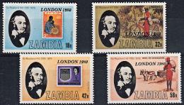 Zm0301 ZAMBIA 1980, SG 301-4 'London '80' International Stamp Exhibition  MNH - Zambia (1965-...)