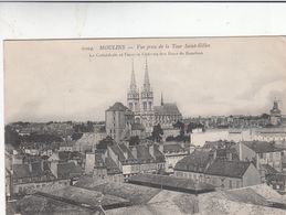 Cp , 03 , MOULINS , Vue Prise De La Tour Saint-Gilles, La Cathédrale Et L'ancien Château Des Ducs De Bourbon - Moulins