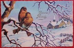 Cpa BONNE ANNEE  Illustrateur M VIVIER  2 OISEAUX Paysage Enneigé 1946 HAPPY NEW YEAR 2 BIRDS IN COUNTRY SNOW A/s - Nouvel An