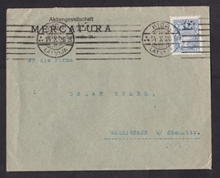 Latvia: Cover To Germany, 1926, 1 Stamp, Heraldry, Sent By Mercatura Company (stamp Has Bad Perforation) - Letland