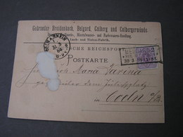 DR 1884  Bergard 2  Bei Colberg , Kastenstempel Auf  Super Karte Nach Köln - Deutschland