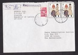Latvia: Registered Cover To Netherlands, 1993, 3 Stamps, 1 USSR Stamp Overprint, Costumes, Clothes (damaged, See Scan) - Lettland