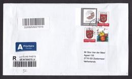 Latvia: Registered Cover To Netherlands, 2018, 4 Stamps, Flower, Heraldry, European Union, EU, Label (minor Damage) - Letland