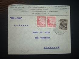 LETTRE TP AVION 50c + TP 20c Paire OBL.4 FEB 35 IQUIQUE + P. GAMARRA - Chili
