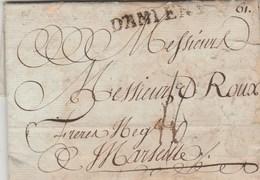 Lettre Marque Postale D AMIENS Somme 14/4/1786 De Durieux à Roux Marseille - Taxe 16 - VOIR DESCRIPTION - Marcofilie (Brieven)