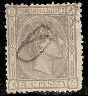 1875-ED. 163 ALFONSO XII 5 CTS. GRIS LILA - USADO OBLITERADO A MANO- REPARADO - 1875-1882 Kingdom: Alphonse XII