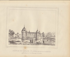 Gravure Ancienne Château De Belgique De Lavaux Sainte Anne Rochefort Mazange De Stavelot - Documents Historiques