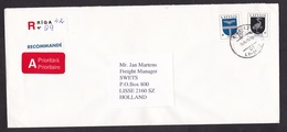 Latvia: Registered Priority Cover To Netherlands, 1998, 2 Stamps, Heraldry, R-label (traces Of Use) - Letland