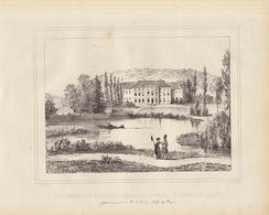Gravure Ancienne Château De Belgique De Moulin Warnant Dinant Baron De Rosée - Documents Historiques