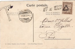 """Colombier  TAXE Pour """"AFF Au VERSO"""" 1907 - Taxes"""