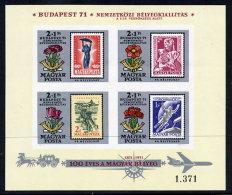 HUNGARY 1971 Budapest Stamp Exhibition Imperforate Block MNH / **.  Michel Block 83B - Blocks & Sheetlets