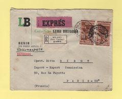 Italie - Milano - 1952 - Expres Destination France - Pneumatique - 1946-.. République
