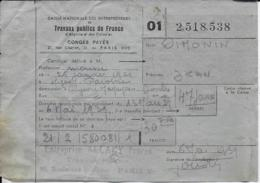 25.- HYEVRE-MAGNY - OIMONIN  Travaux Publics De France Congés Payés - Old Paper