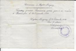 25.- HYEVRE-MAGNY - Laissé-Passé  SIMONIN JEAN - Documentos Antiguos