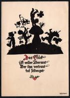 C0599 - Plischke Glückwunschkarte Scherenschnitt - Engel Angel Elfen Pilz Kleeblatt Zwerg - Unterwössen - Scherenschnitt - Silhouette