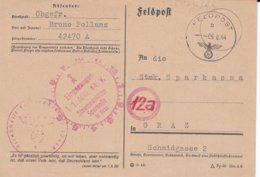 German Feldpost WW2: From Macedonia - Feldgendarmerie-Trupp 1111 FP 42470A P/m 6.8.1944 - Plain Postcard - Militaria