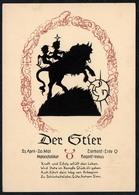 C0605 - TOP Scherenschnitt - Tierkreiszeichen Stier - Engel Angel Elfen - Verlag August Gunkel - Silhouettes
