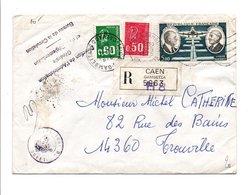 AFFRANCHISSEMENT COMPOSE SUR LETTRE RECOMMANDEE DE CAEN DU 24/4/1975 - Marcofilia (sobres)
