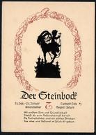 C0608 - Scherenschnitt - Tierkreiszeichen Steinbock - Engel Angel Elfen - Verlag August Gunkel - Silhouettes