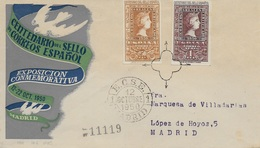 SELLOS-TIMBRES- CARTA CERTIFICADA CON OBLITERACIÓN DEL 1º. DÍA- ESPAGNE - ESPAÑA -1950 - CENTENARIO DEL SELLO ESPAÑOL - - 1931-50 Cartas