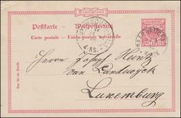 Postkarte P 21I Adler Im Kreis 10 Pf SAARBRÜCKEN 24.4.1892 Nach LUXEMBOURG 24.4. - Allemagne
