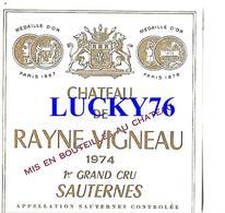 Chateau Rayne Vigneau 1 Er Grand Cru Sauternes 1974 - Bordeaux