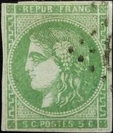 FRANCE Y&T N°42B Cérès 5c Vert-jaune Oblitéré Losange GC - 1870 Bordeaux Printing