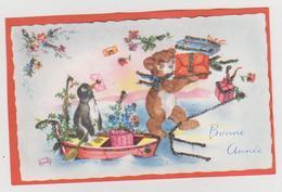 MIGNONETTE BONNE ANNEE . ILLUSTRATRICE LUCE ANDRE . BARQUE PINGOUIN HOUE NOUNOURS CADEAUX PAILLETTES - Nouvel An