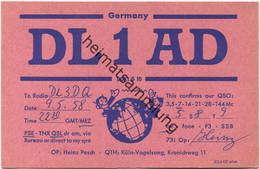 QSL - Funkkarte - DL1AD - 50829 Köln-Vogelsang - 1958 - Amateurfunk